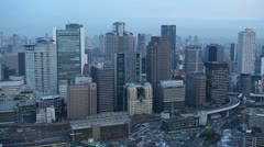 Time Lapse Aerial View Panoramic Shot Rush Hour Cars Traffic Osaka Japanese Area Stock Footage