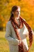 Autumn country sunset -  red hair woman Stock Photos