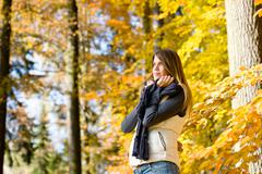 Stock Photo of autumn park - fashion model woman relax