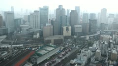 Cloudy Day Railroad Tracks Freight Train Cars Traffic Aerial View Osaka Skyline Stock Footage