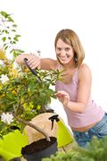Stock Photo of gardening - happy woman cutting rhododendron flower