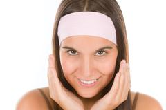 teenager problem skin care - young woman - stock photo