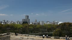 Osaka Aerial View Skyline Japan City Center Tourist Visit Travel Destination Day Stock Footage