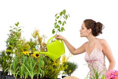 Gardening - woman pouring water to plants with watering can Stock Photos