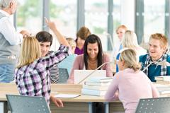 Group of students in classroom Stock Photos