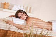 spa - young woman at wellness therapy treatment - stock photo