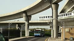 Road interchange near the NYC airport (Jamaica station). - stock footage