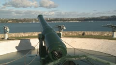 Guns protect harbour at North head, Auckland Stock Footage