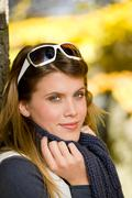 Autumn park - fashion woman with sunglasses Stock Photos