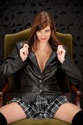 sensual provocative hispanic fashion model - stock photo