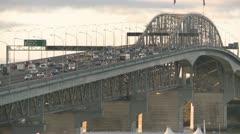Rush hour traffic on bridge Stock Footage