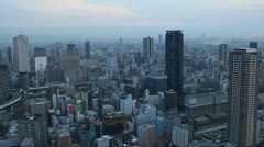 Establishing Shot Osaka Aerial View Japanese Office Buildings Towers Time Lapse Stock Footage