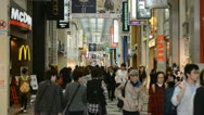 Stock Video Footage of Dotonbori Street, Crowded Shopping Area, Osaka, Japan, Asian Shoppers