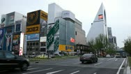Stock Video Footage of Japanese Downtown City Center Traffic Crowded Road Busy Street Osaka Namba Japan