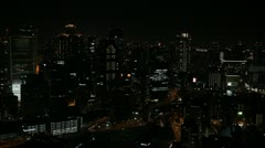 Evening Night Osaka Asian Japanese City Aerial View Cars Traffic Above Downtown Stock Footage
