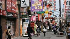 Osaka Dotonbori Popular Location People Shopping Street Iconic Crowded Stores Stock Footage