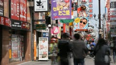 Timelapse Shot Pedestrian Walk People Visit Shop Osaka Dotonbori Shopping Street Stock Footage