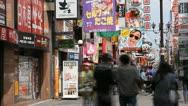 Stock Video Footage of Timelapse Shot Pedestrian Walk People Visit Shop Osaka Dotonbori Shopping Street