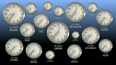 Time Zones - Clock 51 (HD) Stock Footage