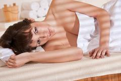 Stock Photo of spa - young woman at wellness therapy treatment