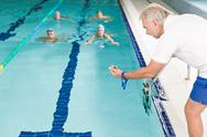 Swimming pool - swimmer training competition Stock Photos