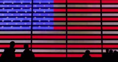 American Flag Neon sign timelapse with fast silhouettes Stock Footage
