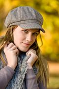autumn park - fashion model woman - stock photo