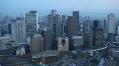 Office Buildings Corporate Towers Business Skyscrapers Osaka Japan Aerial View Stock Footage