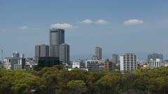 Japanese Downtown City Center Establishing Shot Osaka Skyline Aerial View Office Stock Footage