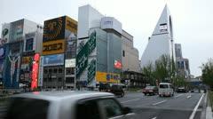 Establishing Shot Car Traffic Dotonboribashi Bridge Busy Road Street Osaka Japan Stock Footage