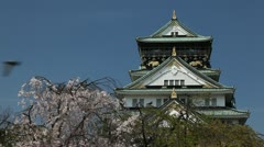 Osaka Castle Japan Spring Cherry Blossoms Blooming Great Sights Famous Landmark Stock Footage