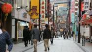 Yokohama Chinatown Shopping Street People Walk Japan Busy City Colorful Shop Day Stock Footage
