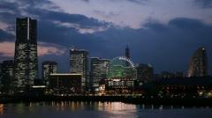 Minato Mirai 21 Yokohama Landmark Tower City Skyline Business Office Night Light Stock Footage
