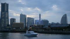 Luxury Yacht Boat Passing Cruise Ship Minato Mirai 21 Yokohama Skyline Landmarks Stock Footage