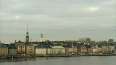 View of the Old Town of Stockholm Stock Footage