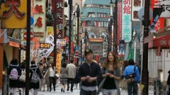 Yokohama China Town Commuters Commuting Shopping Area Street People Visit Stores - stock footage