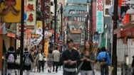 Yokohama China Town Commuters Commuting Shopping Area Street People Visit Stores Stock Footage