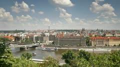 Prague, river T/L Stock Footage