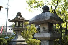 Traditional Japanese stone lanterns Stock Photos