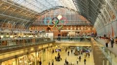 St. Pancras Train Station, London (Timelapse with Olympic Rings) Stock Footage
