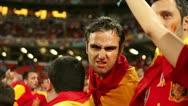 UKRAINE EURO 2012 : Spanish football fans celebrate victory national Spain team Stock Footage