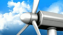 Windturbine fan close up with blue sky as background. - stock footage