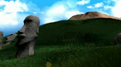 Artist recreation of Easter island statues. Stock Footage