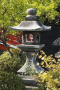 Traditional Japanese stone lantern - stock photo