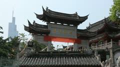 Jiming Temple Oriental Chinese Gate Establishing Shot Zifeng Tower Nanjing China Stock Footage