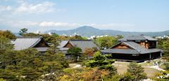 Wide shot of Nijojo temple and garden. - stock photo