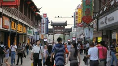 Famous Fuzimiao Area Shopping Street People Walking Tourists Commute Nanjing Day Stock Footage