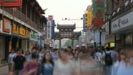 Rush Hour Busy Commercial Area Shopping Street People Shop Nanjing Timelapse Day Stock Footage