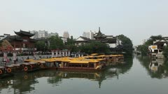 Nanjing Confucius Temple Fuzimiao Iconic Tourist Attraction Boat Passing Commute Stock Footage