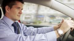 A man driving a car - stock footage
